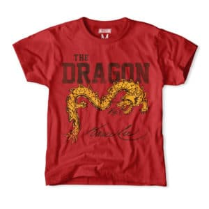 A yellow dragon curls across the Bruce Lee t-shirt.