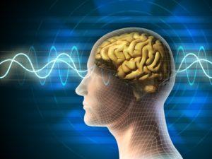 Digital waves pulse through a human brain.