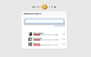 Kicksite attendance check-in martial arts software example