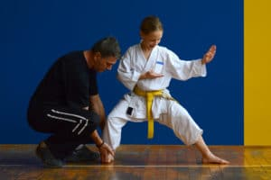 Martial Arts instructor helps student