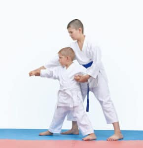 Brother with a blue belt teaches the brother with a white belt martial arts.