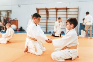 Boys in uniform practice martial arts bully prevention.