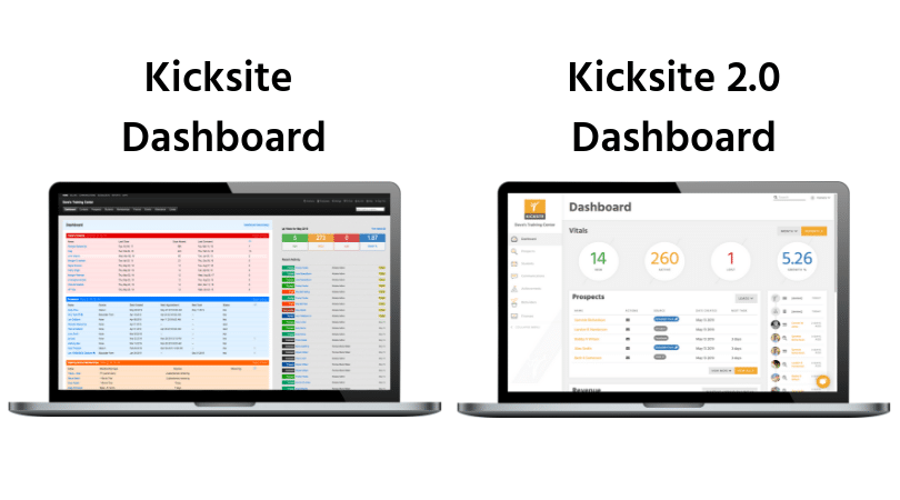 Macbook Pro laptop with Kicksite's old dashboard and an image of the new Kicksite Dashboard