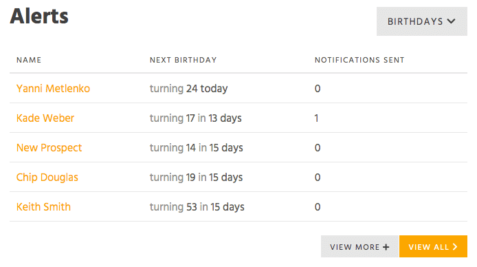 Alerts of upcoming student's birthdays